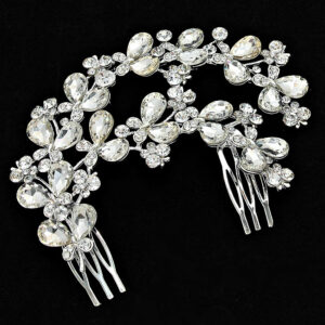 2 Layer Butterfly Studded Crystal LRB Hair Comb