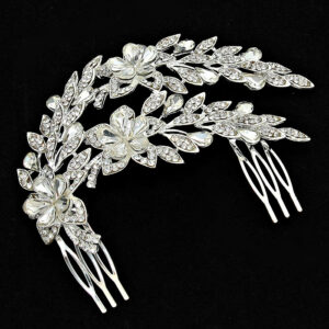 2 Layer Plant Studded Crystal LRB Hair Comb