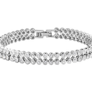 2 Row Round Diamond Cut LRB Tennis Bracelet