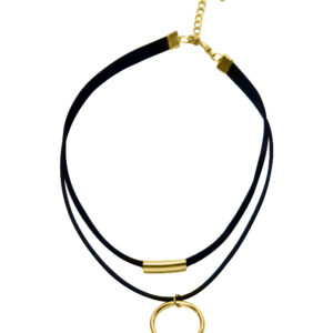 Black 2 Layer String With Suede With Box _ Drapping Gold Hoops Choker