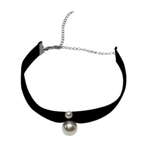 Black Double Pearl Suede Choker