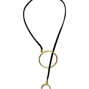 Black Long String Suede Big Hoop_Small Hoop Interlock Gold Pendant Choker