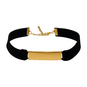 Black Suede Rectangular Gold Box Choker_