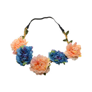 Peach_Blue Fluffy Flower Head Band