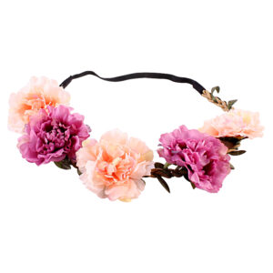 Peach_Purple Fluffy Flower Head Band