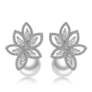 Pearl Ball Cluster Leaves Marquis Cut Studded LRB Earrings