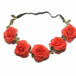 Red Floral Flower Head Band