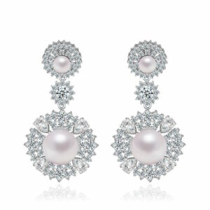 Silver 2 Layer Pearl Studded LRB Earrings