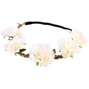 White Fluffy Flower Head Band