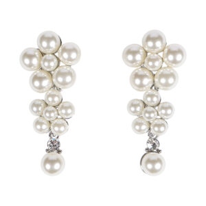 3 Layer Silver Long Pearl Drop Earrings
