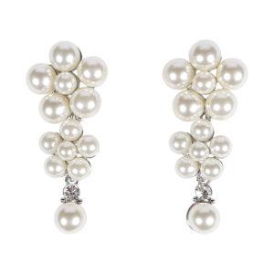3 Layer Silver Long Pearl Drop Earrings