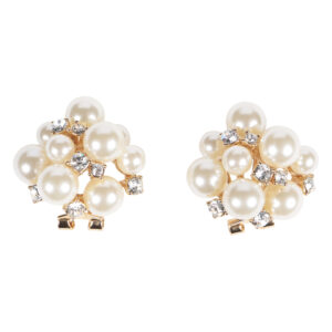 Gold Pearl Clutter With Studs Earrings