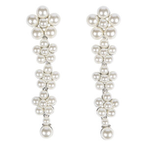 Silver Long Pearl Drop Earrings