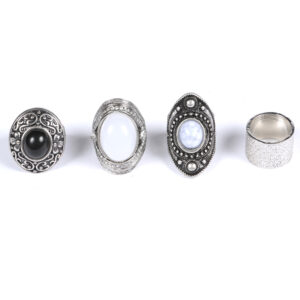 4Pcs Silver Antique Ring Set