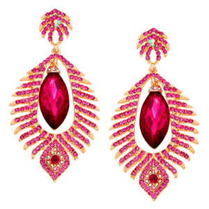 Fushia Scattered Leaves W:Oval Crystal Stone Earrings