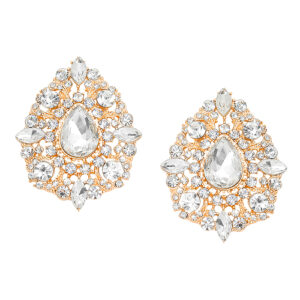 Gold Oval Studded Crystal Stone Statement Earrings