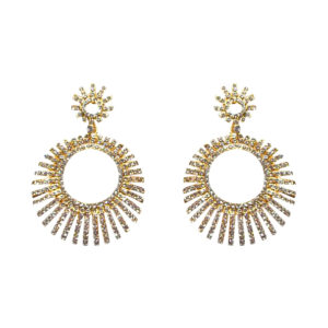 Gold Round Sprouse Crystal Earrings