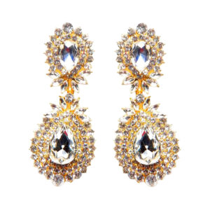 Gold:Clear 2 Layer Crystal Studded Statement Earrings