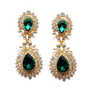 Green:Gold 2 Layer Crystal Studded Statement Earrings