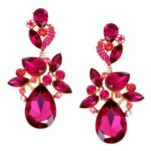 Purple Plant Crystal Statement Earrings