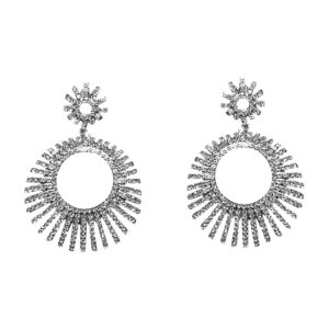 Silver Round Sprouse Crystal Earrings